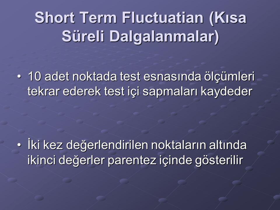 Short Term Fluctuatian (Kısa Süreli Dalgalanmalar) 10 adet noktada test esnasında ölçümleri tekrar ederek test içi sapmaları kaydeder10 adet noktada t