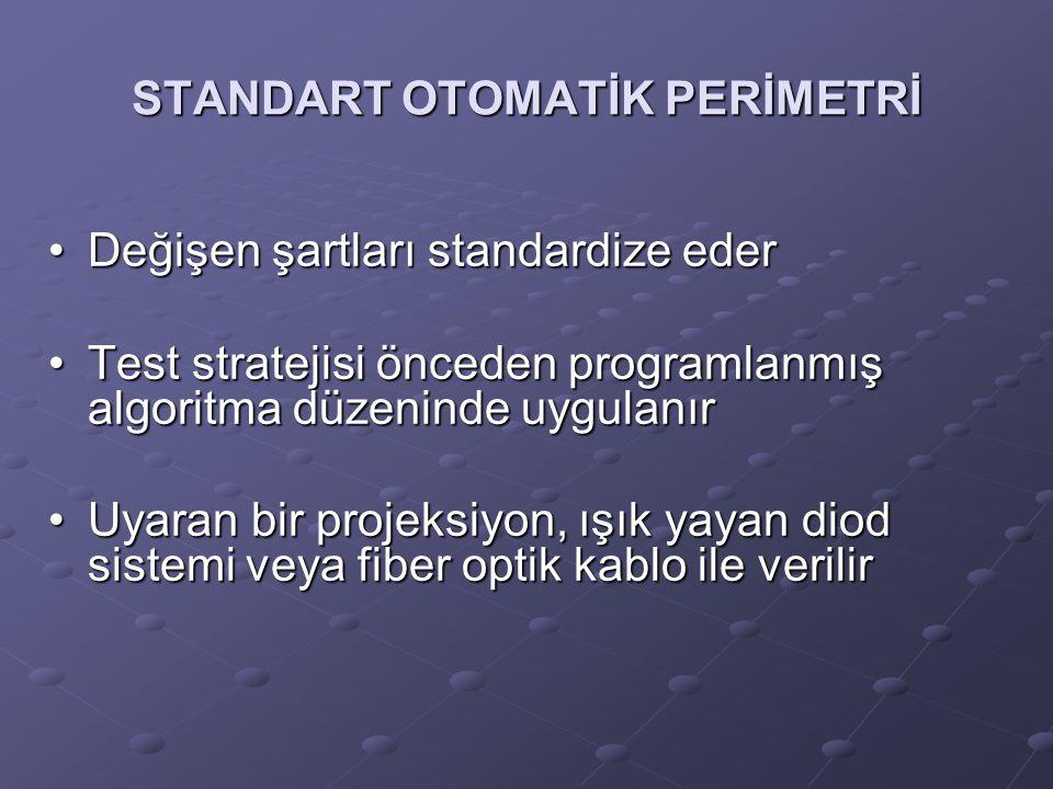 STANDART OTOMATİK PERİMETRİ Değişen şartları standardize ederDeğişen şartları standardize eder Test stratejisi önceden programlanmış algoritma düzenin