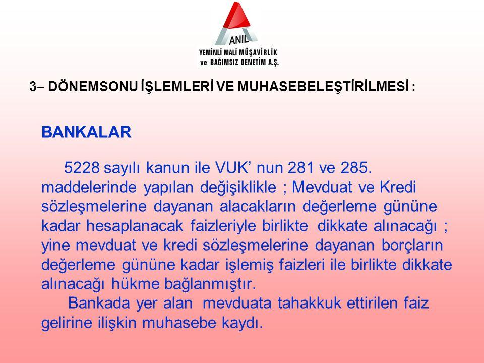 BANKALAR 5228 sayılı kanun ile VUK' nun 281 ve 285.