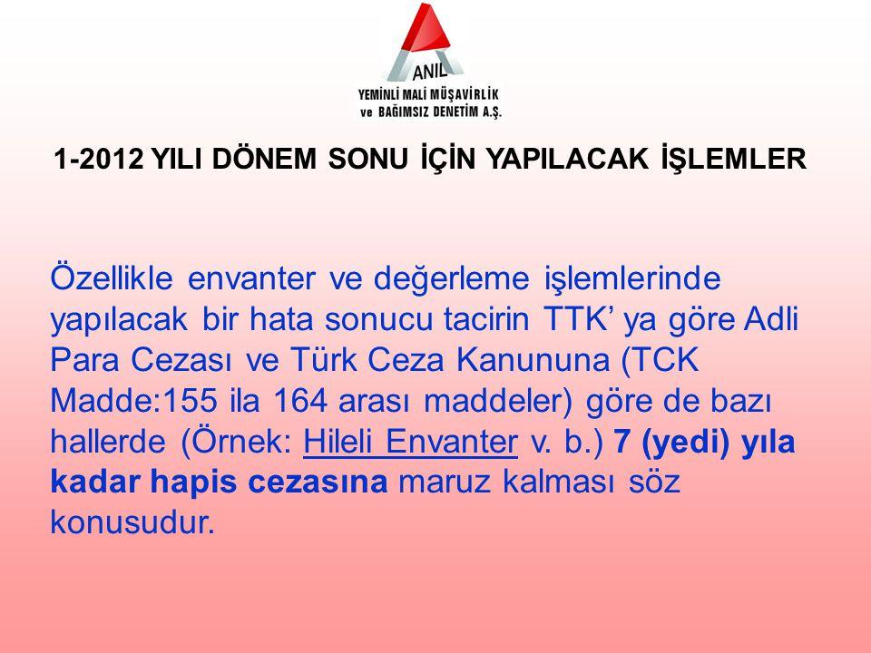 Özellikle envanter ve değerleme işlemlerinde yapılacak bir hata sonucu tacirin TTK' ya göre Adli Para Cezası ve Türk Ceza Kanununa (TCK Madde:155 ila 164 arası maddeler) göre de bazı hallerde (Örnek: Hileli Envanter v.