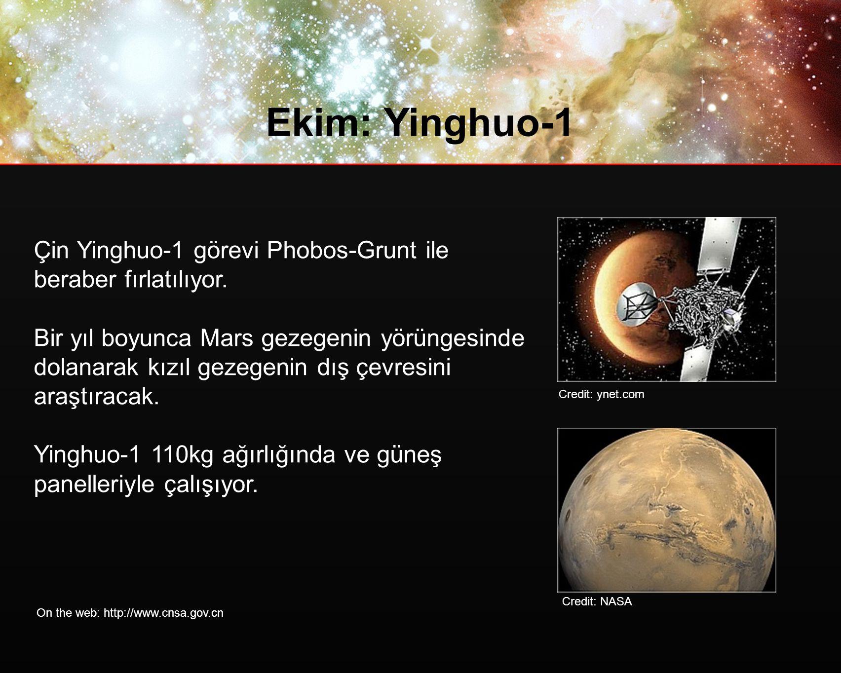 Ekim: Yinghuo-1 Çin Yinghuo-1 görevi Phobos-Grunt ile beraber fırlatılıyor.