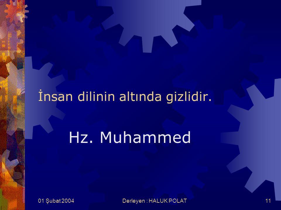 01 Şubat 2004Derleyen : HALUK POLAT11 İnsan dilinin altında gizlidir. Hz. Muhammed