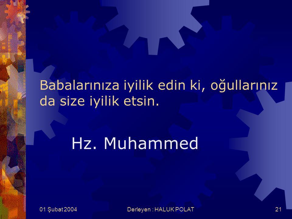 01 Şubat 2004Derleyen : HALUK POLAT21 Babalarınıza iyilik edin ki, oğullarınız da size iyilik etsin. Hz. Muhammed