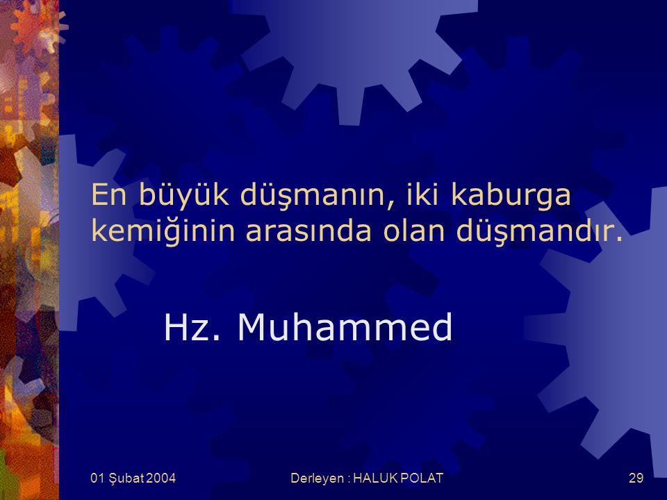01 Şubat 2004Derleyen : HALUK POLAT29 En büyük düşmanın, iki kaburga kemiğinin arasında olan düşmandır. Hz. Muhammed
