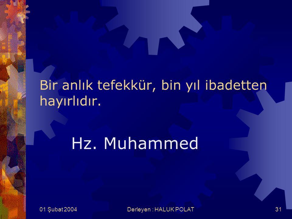 01 Şubat 2004Derleyen : HALUK POLAT31 Bir anlık tefekkür, bin yıl ibadetten hayırlıdır. Hz. Muhammed