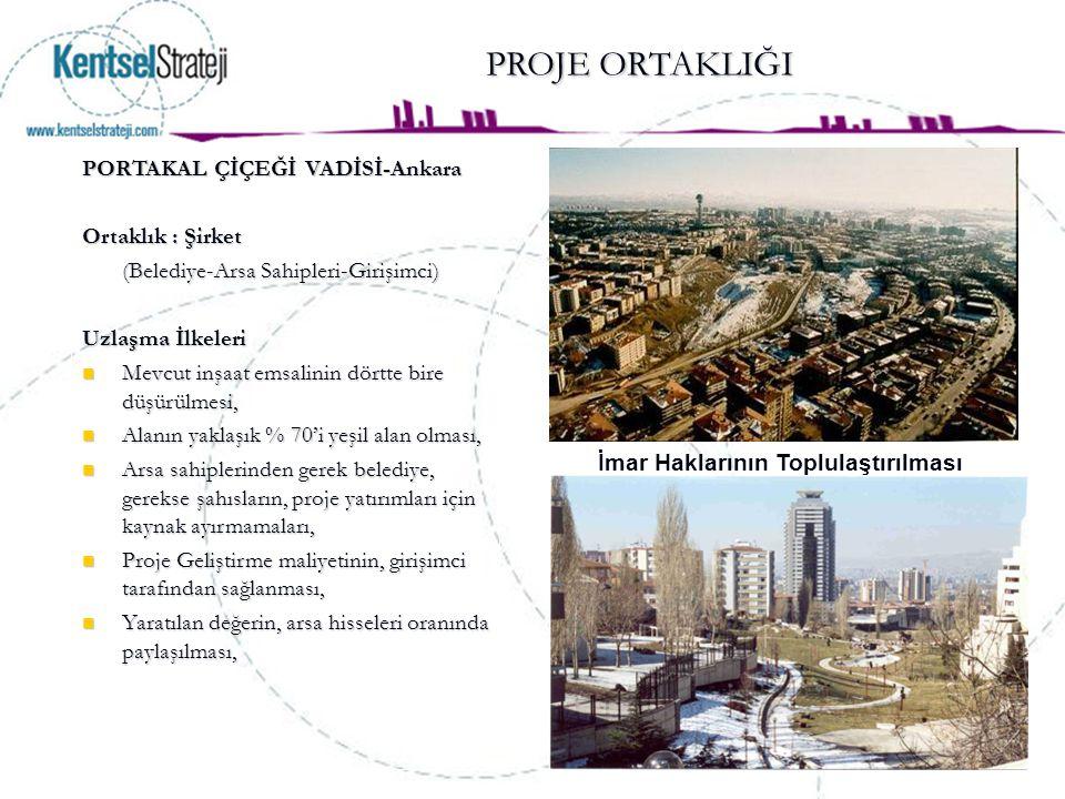 PROJE ORTAKLIĞI PROJE ORTAKLIĞI PORTAKAL ÇİÇEĞİ VADİSİ-Ankara Ortaklık : Şirket (Belediye-Arsa Sahipleri-Girişimci) Uzlaşma İlkeleri Mevcut inşaat ems