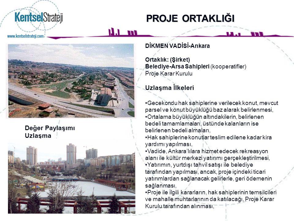 PROJE ORTAKLIĞI DİKMEN VADİSİ-Ankara Ortaklık: (Şirket) Belediye-Arsa Sahipleri (kooperatifler) Proje Karar Kurulu Uzlaşma İlkeleri Gecekondu hak sahi