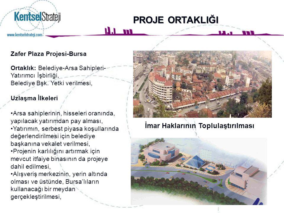 Zafer Plaza Projesi-Bursa Ortaklık: Belediye-Arsa Sahipleri- Yatırımcı İşbirliği, Belediye Bşk. Yetki verilmesi, Uzlaşma İlkeleri Arsa sahiplerinin, h