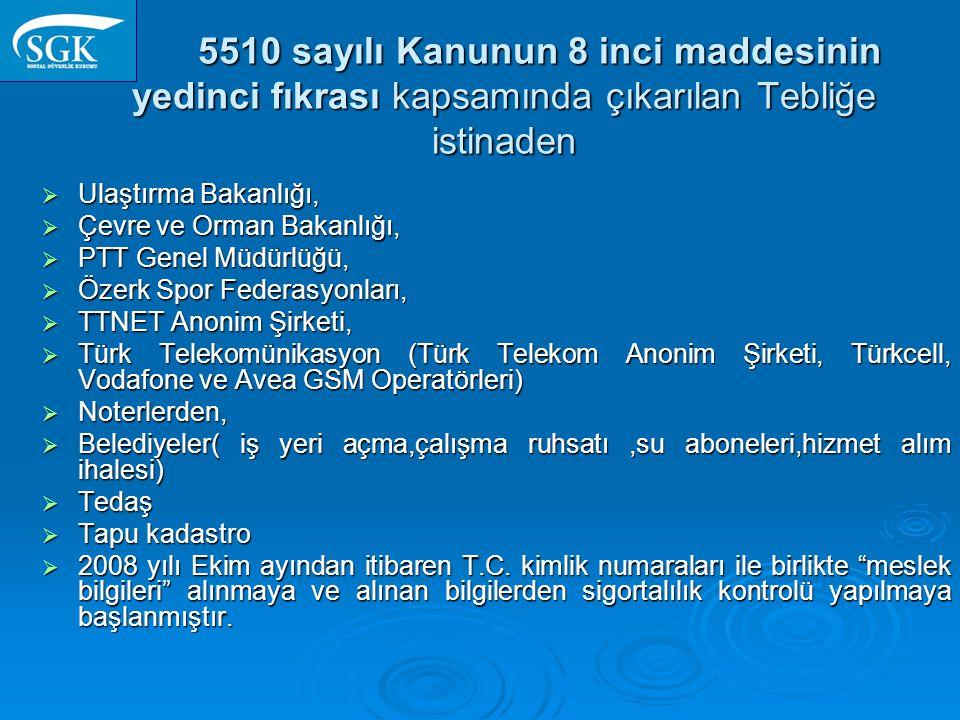 5510 sayılı Kanunun 8 inci maddesinin yedinci fıkrası kapsamında çıkarılan Tebliğe istinaden 5510 sayılı Kanunun 8 inci maddesinin yedinci fıkrası kapsamında çıkarılan Tebliğe istinaden  Ulaştırma Bakanlığı,  Çevre ve Orman Bakanlığı,  PTT Genel Müdürlüğü,  Özerk Spor Federasyonları,  TTNET Anonim Şirketi,  Türk Telekomünikasyon (Türk Telekom Anonim Şirketi, Türkcell, Vodafone ve Avea GSM Operatörleri)  Noterlerden,  Belediyeler( iş yeri açma,çalışma ruhsatı,su aboneleri,hizmet alım ihalesi)  Tedaş  Tapu kadastro  2008 yılı Ekim ayından itibaren T.C.