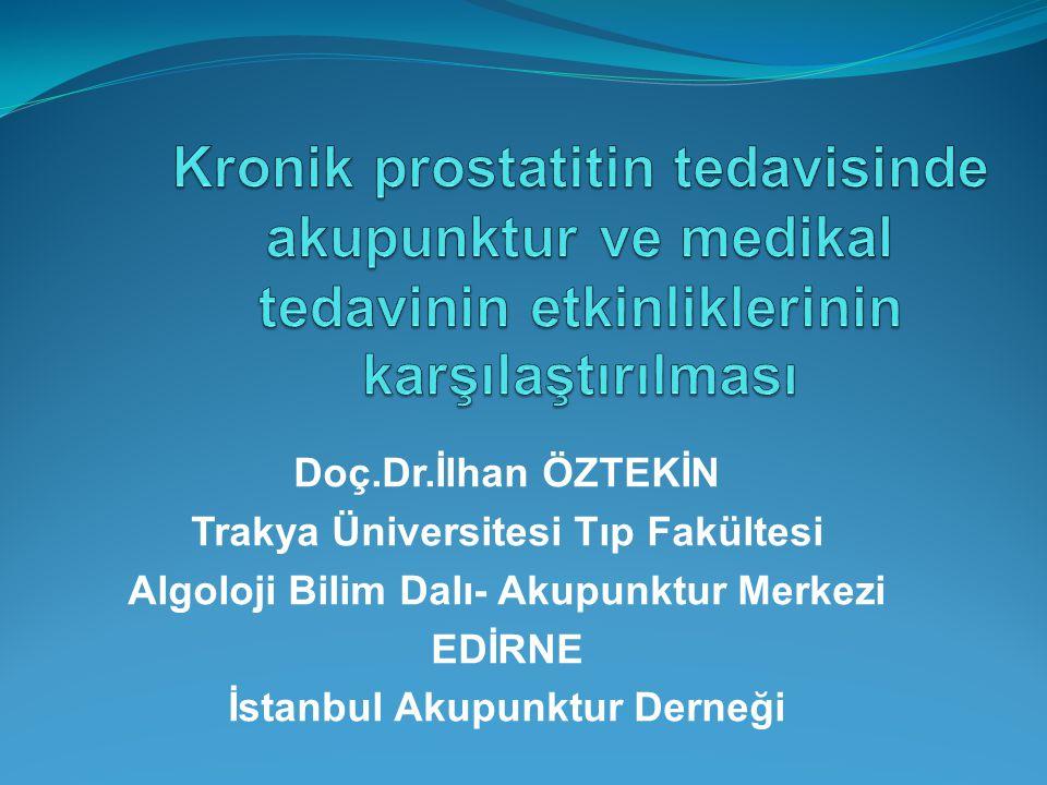 Doç.Dr.İlhan ÖZTEKİN Trakya Üniversitesi Tıp Fakültesi Algoloji Bilim Dalı- Akupunktur Merkezi EDİRNE İstanbul Akupunktur Derneği