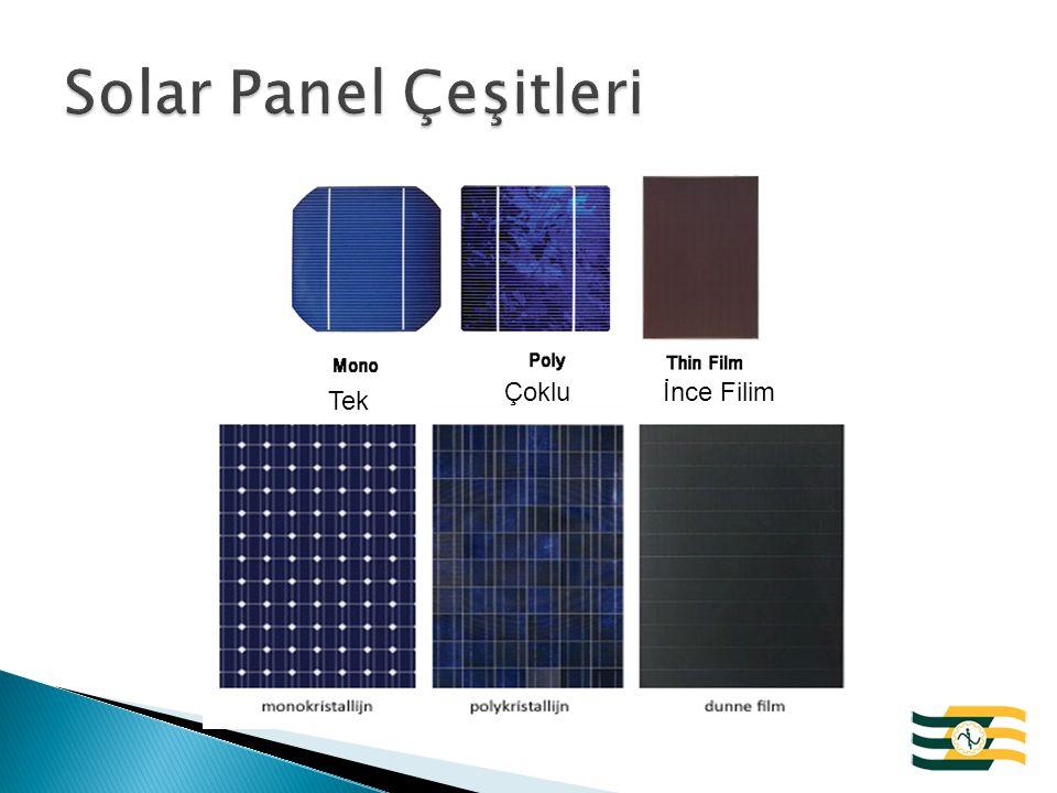 Monokristal Panel: Siyah veya Koyu Mavi renktedir.