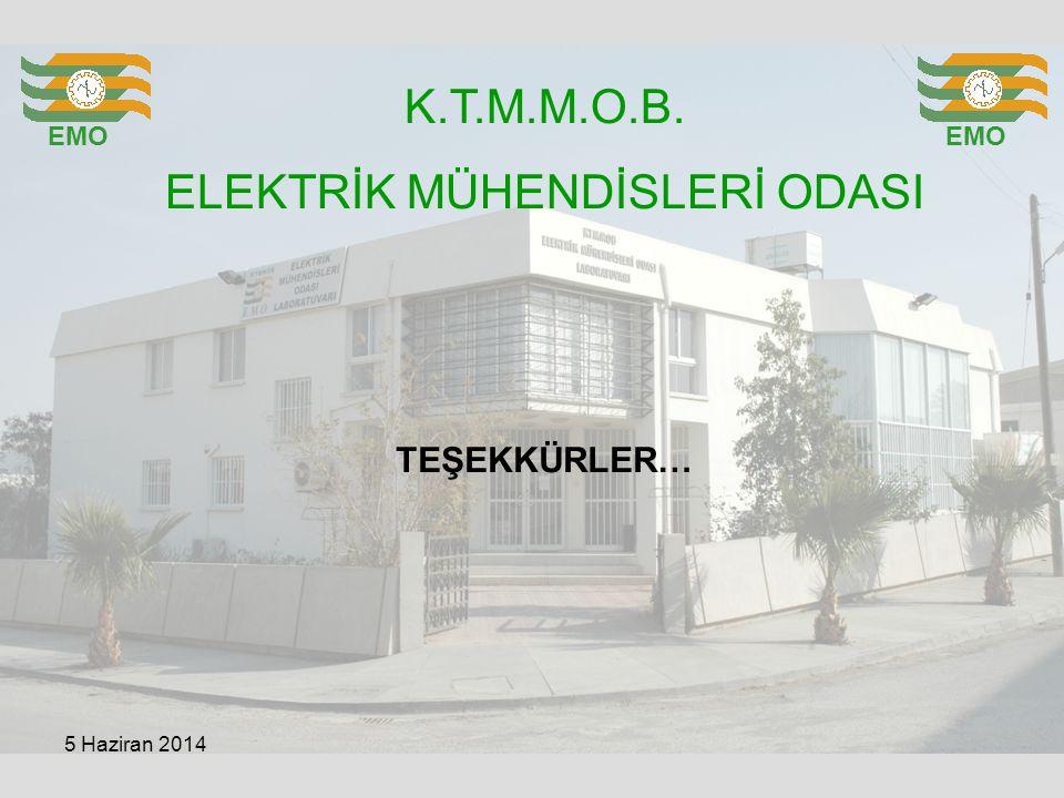 K.T.M.M.O.B. ELEKTRİK MÜHENDİSLERİ ODASI EMO TEŞEKKÜRLER… 5 Haziran 2014