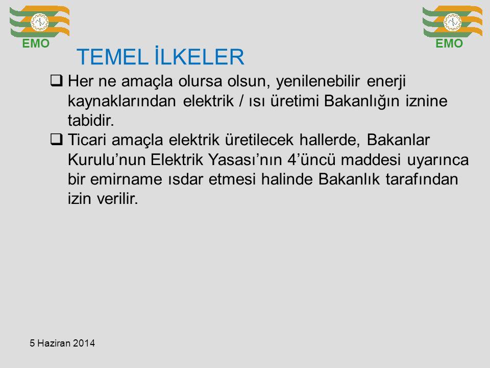TEMEL İLKELER EMO  Her ne amaçla olursa olsun, yenilenebilir enerji kaynaklarından elektrik / ısı üretimi Bakanlığın iznine tabidir.  Ticari amaçla