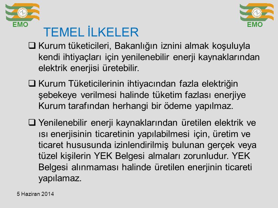 TEMEL İLKELER EMO  Kurum tüketicileri, Bakanlığın iznini almak koşuluyla kendi ihtiyaçları için yenilenebilir enerji kaynaklarından elektrik enerjisi