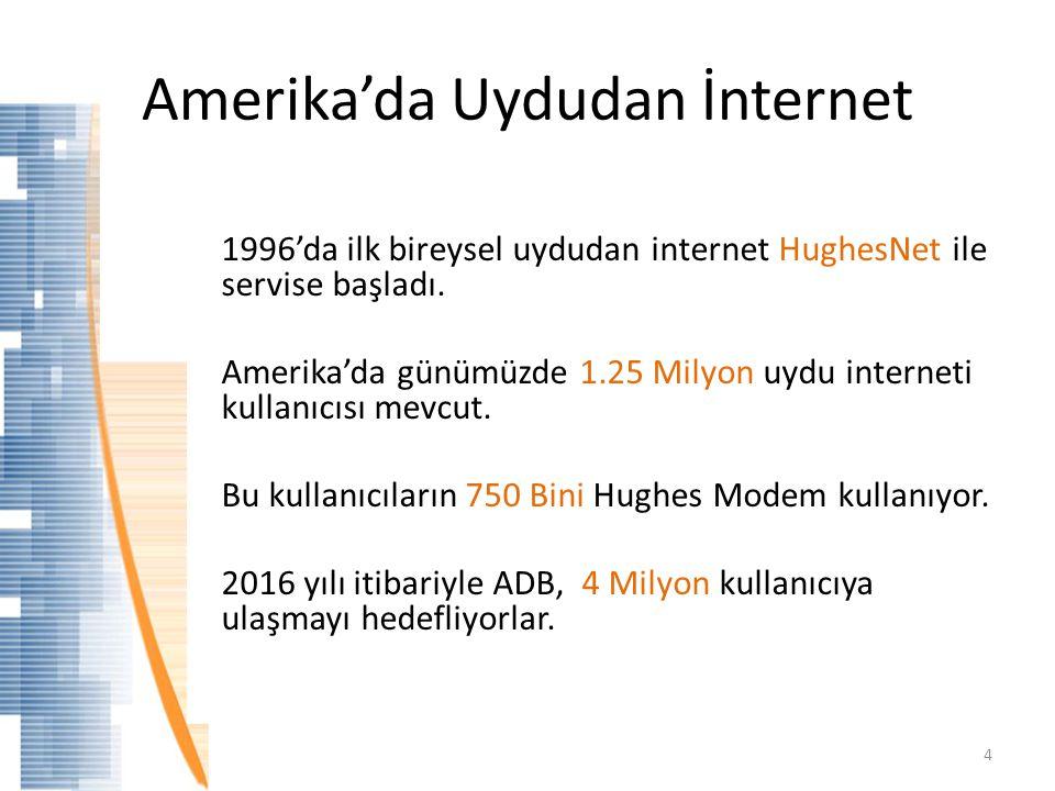 Amerika'da Uydudan İnternet 1996'da ilk bireysel uydudan internet HughesNet ile servise başladı. Amerika'da günümüzde 1.25 Milyon uydu interneti kulla