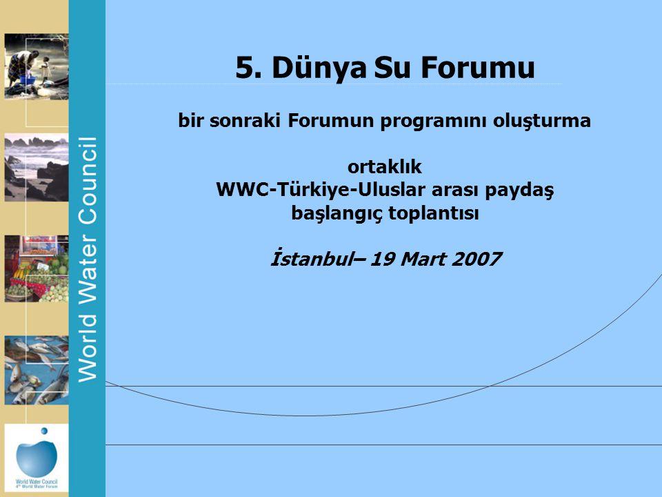 5. Dünya Su Forumu bir sonraki Forumun programını oluşturma ortaklık WWC-Türkiye-Uluslar arası paydaş başlangıç toplantısı İstanbul– 19 Mart 2007