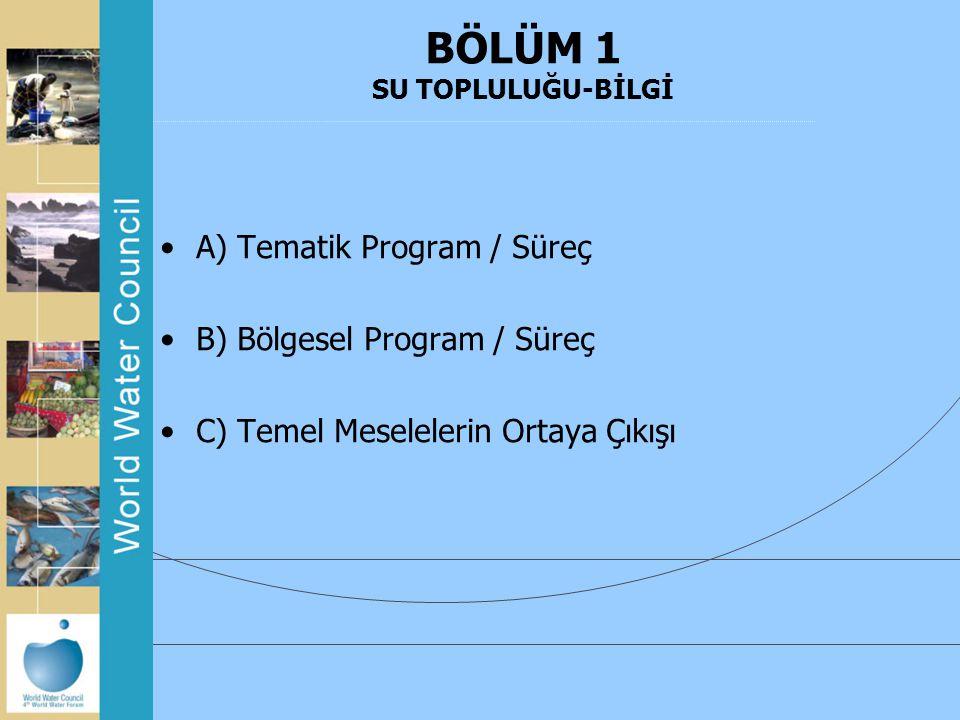 BÖLÜM 1 SU TOPLULUĞU-BİLGİ A) Tematik Program / Süreç B) Bölgesel Program / Süreç C) Temel Meselelerin Ortaya Çıkışı