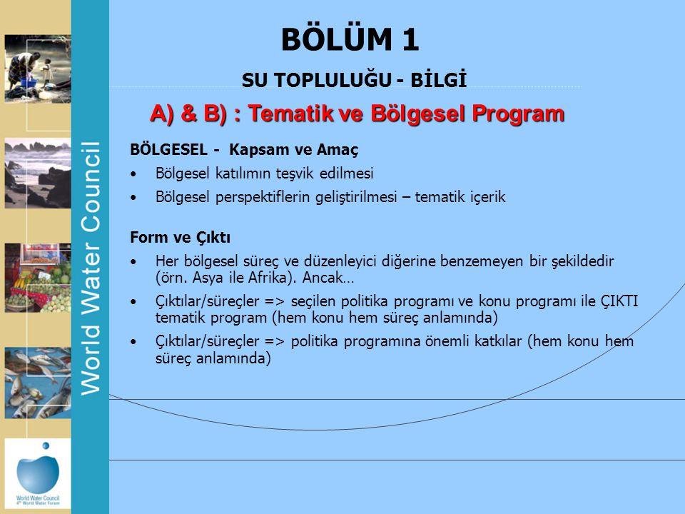 BÖLÜM 1 SU TOPLULUĞU - BİLGİ A) & B) : Tematik ve Bölgesel Program BÖLGESEL - Kapsam ve Amaç Bölgesel katılımın teşvik edilmesi Bölgesel perspektifler