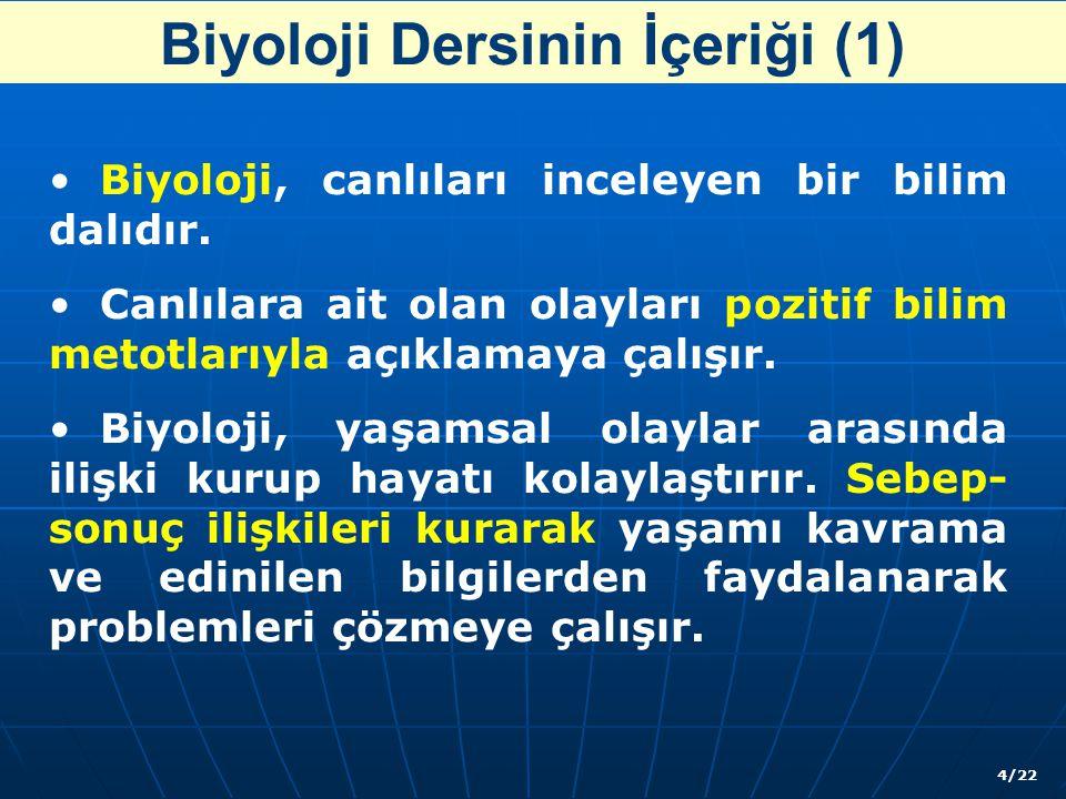 Biyoloji Dersinin İçeriği (1) Biyoloji, canlıları inceleyen bir bilim dalıdır.