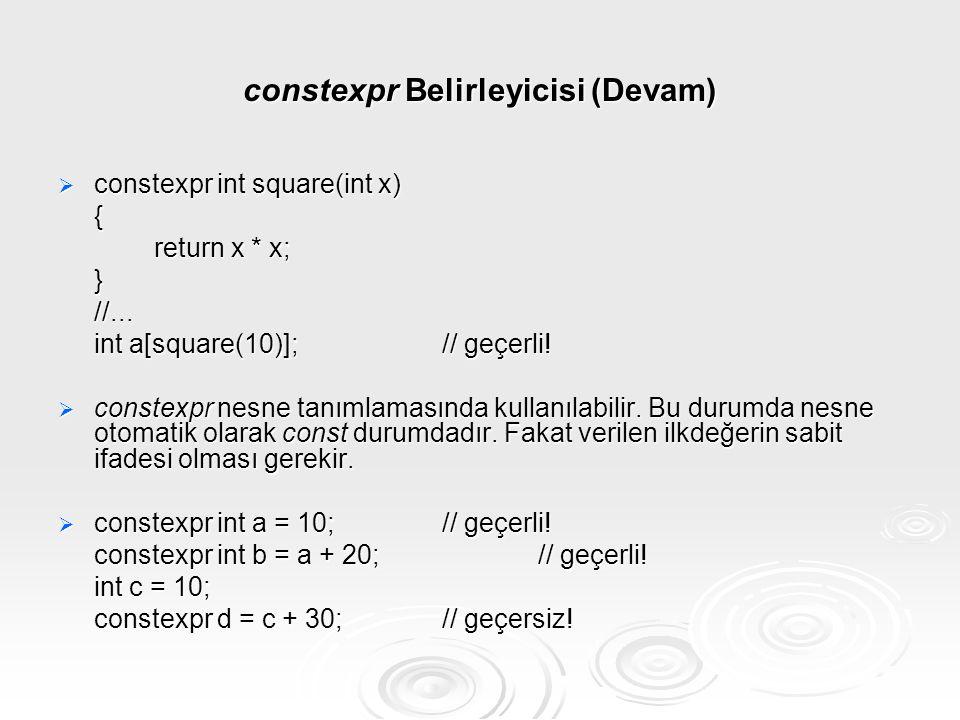 constexpr Belirleyicisi (Devam)  constexpr int square(int x) { return x * x; }//... int a[square(10)];// geçerli!  constexpr nesne tanımlamasında ku