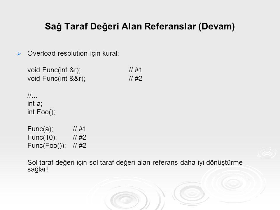 Sağ Taraf Değeri Alan Referanslar (Devam)  Overload resolution için kural: void Func(int &r);// #1 void Func(int &&r);// #2 //... int a; int Foo(); F