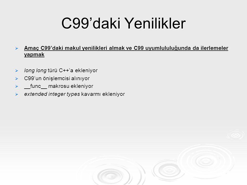 C99'daki Yenilikler  Amaç C99'daki makul yenilikleri almak ve C99 uyumlululuğunda da ilerlemeler yapmak  long long türü C++'a ekleniyor  C99'un öni