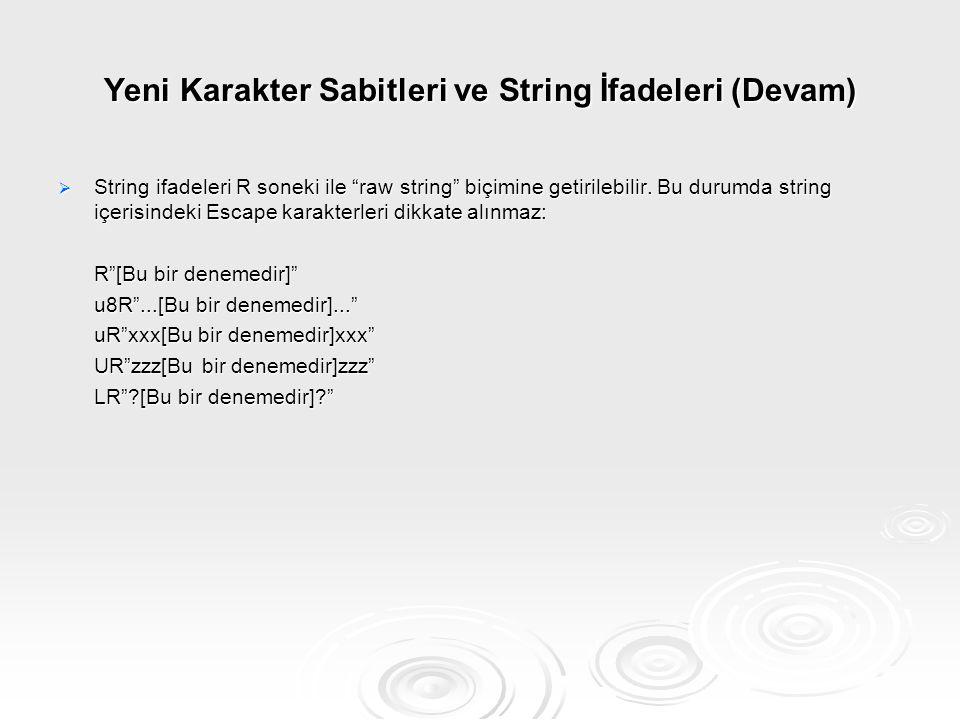 """Yeni Karakter Sabitleri ve String İfadeleri (Devam)  String ifadeleri R soneki ile """"raw string"""" biçimine getirilebilir. Bu durumda string içerisindek"""