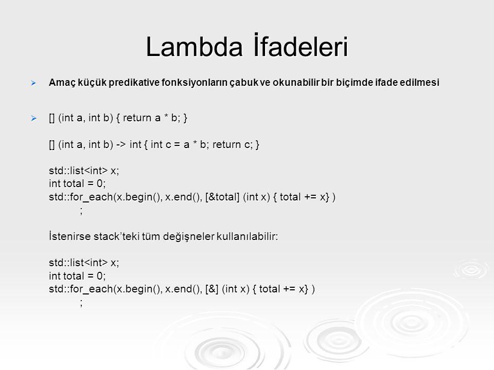 Lambda İfadeleri  Amaç küçük predikative fonksiyonların çabuk ve okunabilir bir biçimde ifade edilmesi  [] (int a, int b) { return a * b; } [] (int