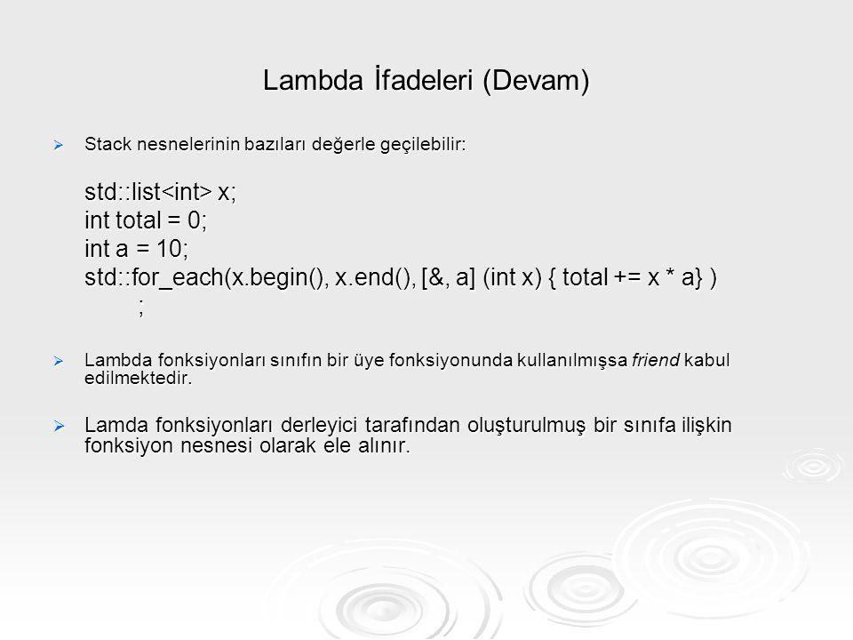 Lambda İfadeleri (Devam)  Stack nesnelerinin bazıları değerle geçilebilir: std::list x; int total = 0; int a = 10; std::for_each(x.begin(), x.end(),