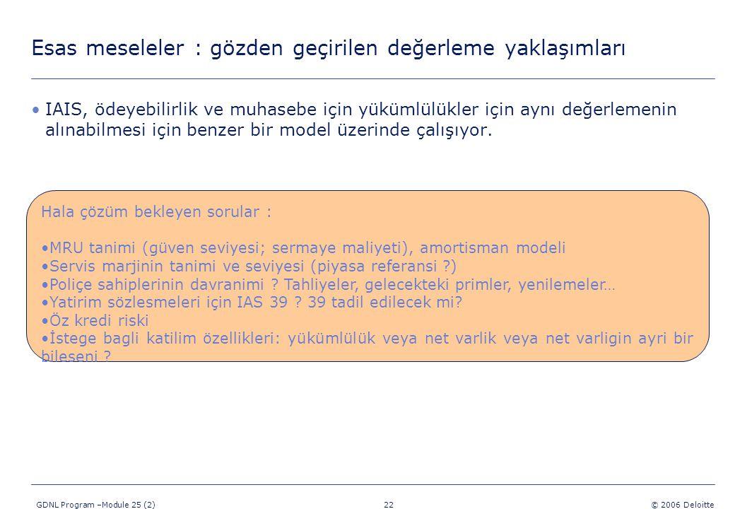 22 GDNL Program –Module 25 (2) © 2006 Deloitte IAIS, ödeyebilirlik ve muhasebe için yükümlülükler için aynı değerlemenin alınabilmesi için benzer bir