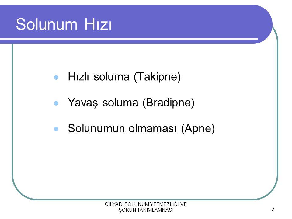 ÇİLYAD, SOLUNUM YETMEZLİĞİ VE ŞOKUN TANIMLAMNASI 7 Solunum Hızı Hızlı soluma (Takipne) Yavaş soluma (Bradipne) Solunumun olmaması (Apne)