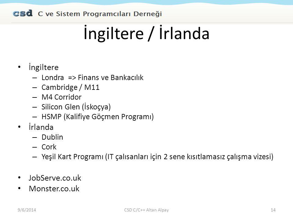 İngiltere / İrlanda İngiltere – Londra => Finans ve Bankacılık – Cambridge / M11 – M4 Corridor – Silicon Glen (İskoçya) – HSMP (Kalifiye Göçmen Progra