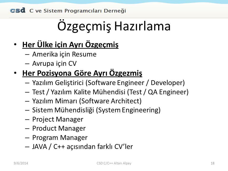 Özgeçmiş Hazırlama Her Ülke için Ayrı Özgeçmiş – Amerika için Resume – Avrupa için CV Her Pozisyona Göre Ayrı Özgezmiş – Yazılım Geliştirici (Software