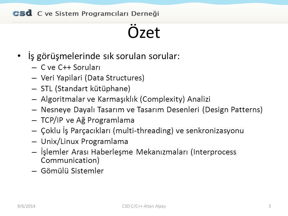Davranışsal Özellikler Leadership (Liderlik) Tutarlılı (Integrity) Analytical Thinking Problem Çözme (Problem Solver) İş Bitirici (Getting Things Done) Detaycı (Details Oriented) Çabuk Öğrenen (Quick Learner) Work without supervision (Bağımsız çalısabilen) 9/6/2014CSD C/C++ Altan Alpay24