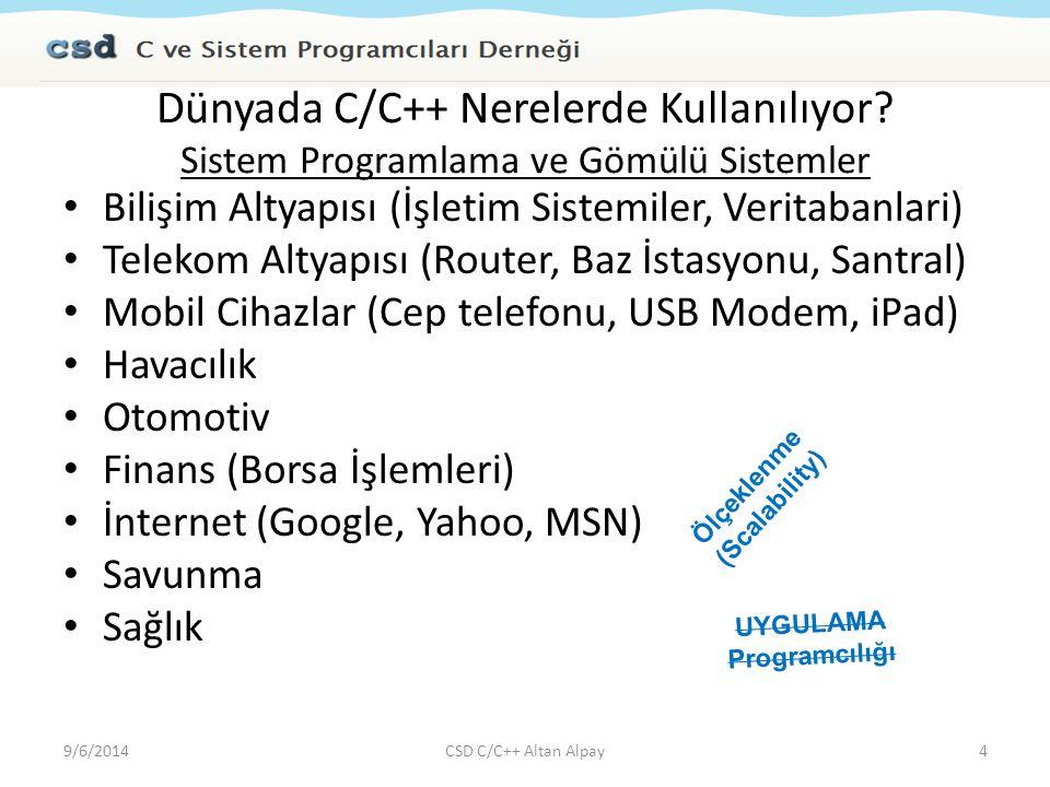 C Soruları (bellek) C bellek türleri – Global / Statik Değişkenler – Yığıt (Stack) / Otomatik Değişkenler – Heap / Dinamik Değişkenler char* getString( ) { char* str = test ; return str; } char* getString( ) { char str[100] = test ; return str; } 9/6/201435CSD C/C++ Altan Alpay