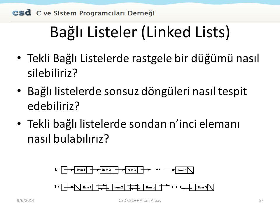 Bağlı Listeler (Linked Lists) Tekli Bağlı Listelerde rastgele bir düğümü nasıl silebiliriz? Bağlı listelerde sonsuz döngüleri nasıl tespit edebiliriz?