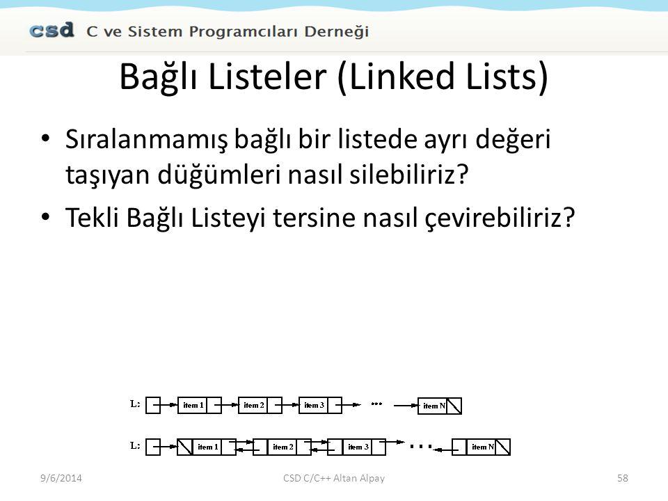 Bağlı Listeler (Linked Lists) Sıralanmamış bağlı bir listede ayrı değeri taşıyan düğümleri nasıl silebiliriz? Tekli Bağlı Listeyi tersine nasıl çevire