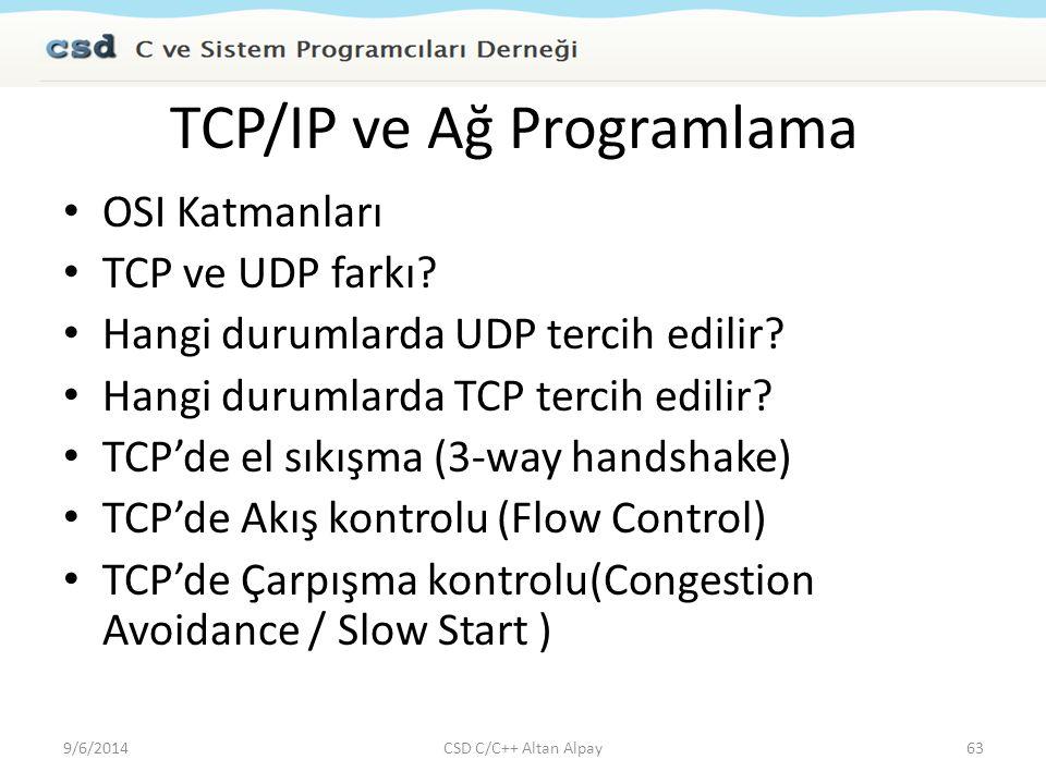 TCP/IP ve Ağ Programlama OSI Katmanları TCP ve UDP farkı? Hangi durumlarda UDP tercih edilir? Hangi durumlarda TCP tercih edilir? TCP'de el sıkışma (3
