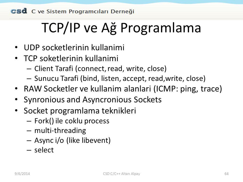 TCP/IP ve Ağ Programlama UDP socketlerinin kullanimi TCP soketlerinin kullanimi – Client Tarafi (connect, read, write, close) – Sunucu Tarafi (bind, l