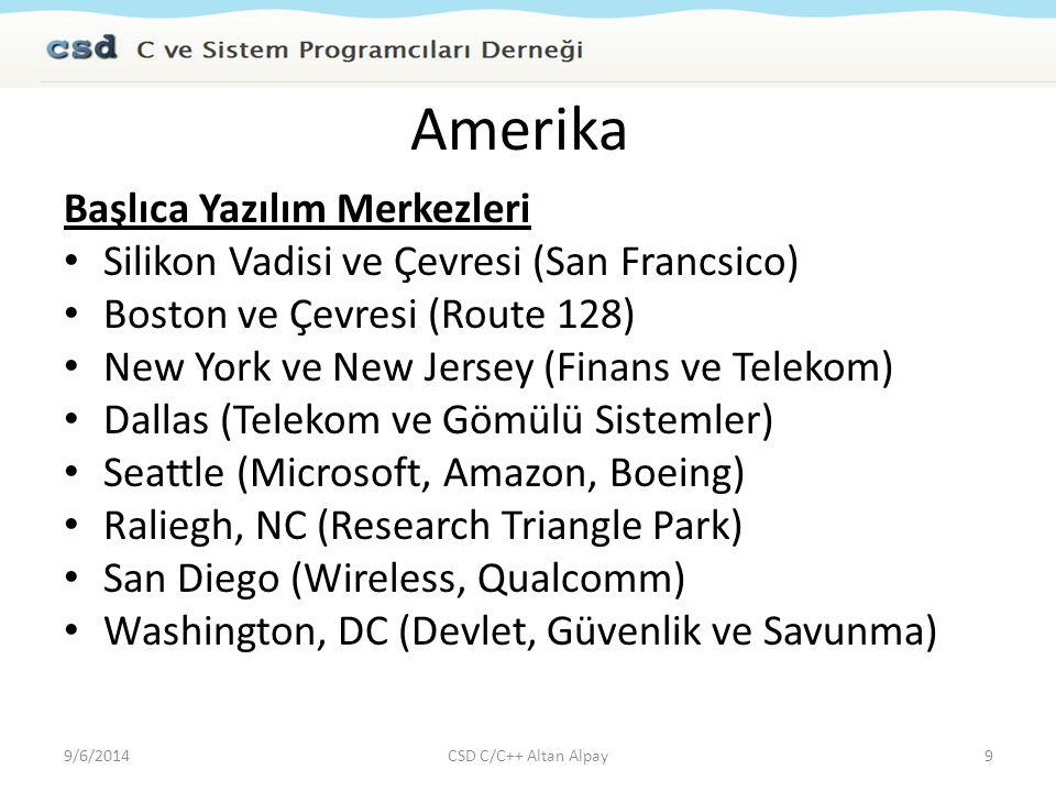 Amerika Başlıca Yazılım Merkezleri Silikon Vadisi ve Çevresi (San Francsico) Boston ve Çevresi (Route 128) New York ve New Jersey (Finans ve Telekom)