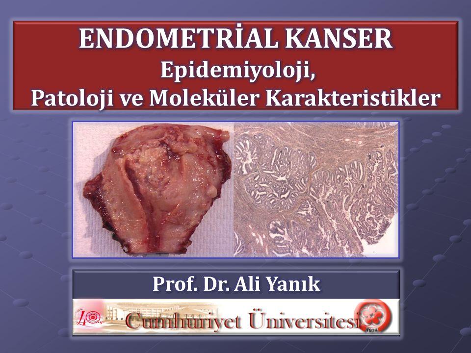 Endometrial kanserlerde moleküler karakteristikler Histolojik tipi Histolojik tipi Grade'i Grade'i Tümörün progresyonunu Tümörün progresyonunu  Prognozu belirler