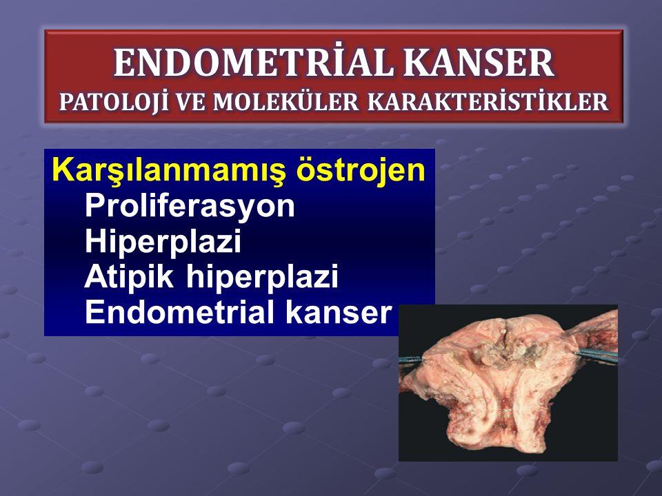 Karşılanmamış östrojen Proliferasyon Hiperplazi Atipik hiperplazi Endometrial kanser