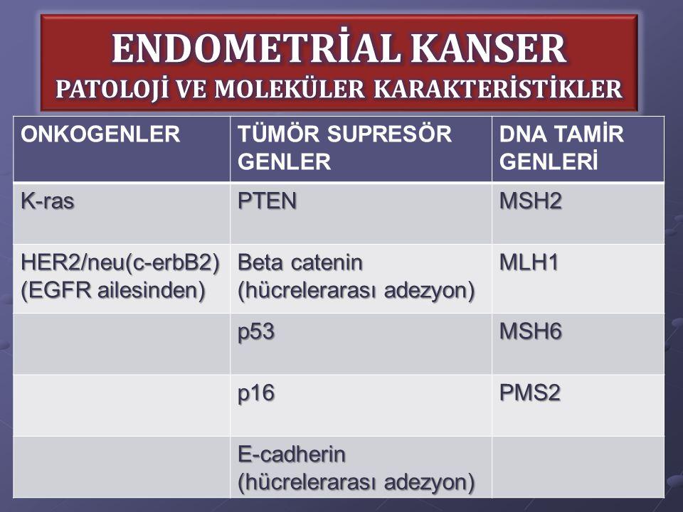 ONKOGENLERTÜMÖR SUPRESÖR GENLER DNA TAMİR GENLERİK-rasPTENMSH2 HER2/neu(c-erbB2) (EGFR ailesinden) Beta catenin (hücrelerarası adezyon) MLH1 p53MSH6 p