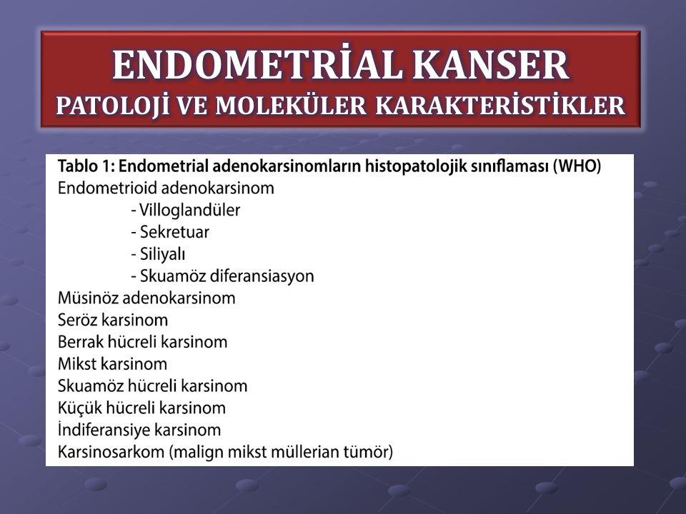 TİP I Grade 1-2 endometrioid tümörler, müsinöz tümörler Endometrial hiperplazi zemininde gelişirler Diploid karyotip Östrojen/Progesteron reseptörü (+) TİP II Grade 3 endometrioid tümörler ve non- endometrioid histoloji, özellikle seröz ve berrak hücreli karsinom Atrofik endometrium zemininde gelişirler Anöploid karyotip Epidermal büyüme faktörü reseptörü (EGFR) (+) ***Moleküler karakteristikleri ve patogenezleri farklıdır***