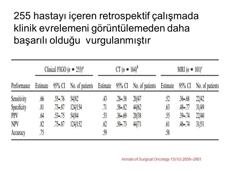255 hastayı içeren retrospektif çalışmada klinik evrelemeni görüntülemeden daha başarılı olduğu vurgulanmıştır Annals of Surgical Oncology 15(10):2856