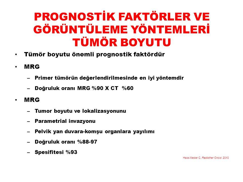 PROGNOSTİK FAKTÖRLER VE GÖRÜNTÜLEME YÖNTEMLERİ TÜMÖR BOYUTU Tümör boyutu önemli prognostik faktördür MRG – Primer tümörün değerlendirilmesinde en iyi