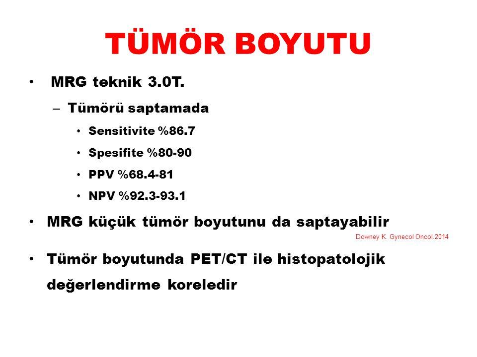 TÜMÖR BOYUTU MRG teknik 3.0T. – Tümörü saptamada Sensitivite %86.7 Spesifite %80-90 PPV %68.4-81 NPV %92.3-93.1 MRG küçük tümör boyutunu da saptayabil