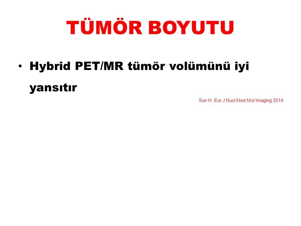 TÜMÖR BOYUTU Hybrid PET/MR tümör volümünü iyi yansıtır Sun H. Eur J Nucl Med Mol Imaging 2014