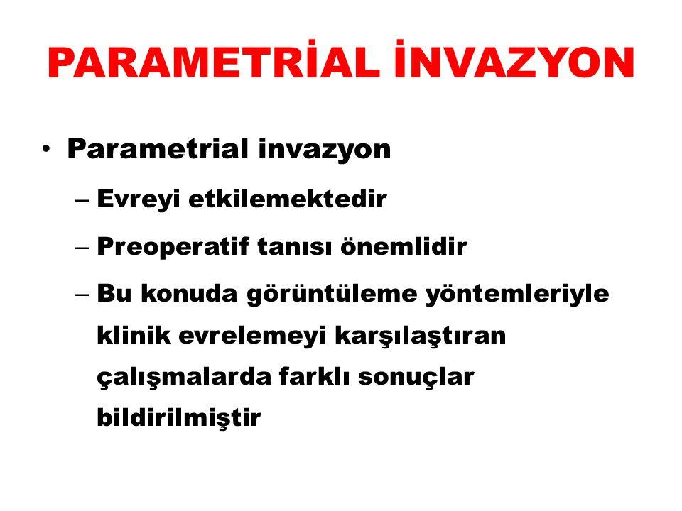 PARAMETRİAL İNVAZYON Parametrial invazyon – Evreyi etkilemektedir – Preoperatif tanısı önemlidir – Bu konuda görüntüleme yöntemleriyle klinik evreleme