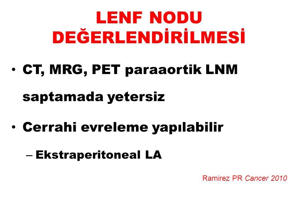 LENF NODU DEĞERLENDİRİLMESİ CT, MRG, PET paraaortik LNM saptamada yetersiz Cerrahi evreleme yapılabilir – Ekstraperitoneal LA Ramirez PR Cancer 2010